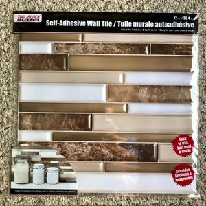 10 SHEETS Self Adhesive BROWN & WHITE LINEAR Wall